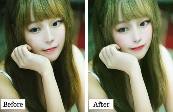 Ulikeで美顔補正とメイクをしたビフォーアフター画像