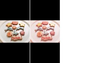 ピンクフィルタ風画像のビフォーアフター